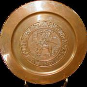 """Vintage Copper Plaque ~ Aztec / Mayan Design ~ Repousse ~ 11"""""""