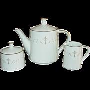 Noritake ~ Teapot, Creamer, Sugar Set ~ Courtney Pattern