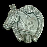 Cast Aluminum Ashtray ~ Horseshoe and Bust ~ Sicily '44