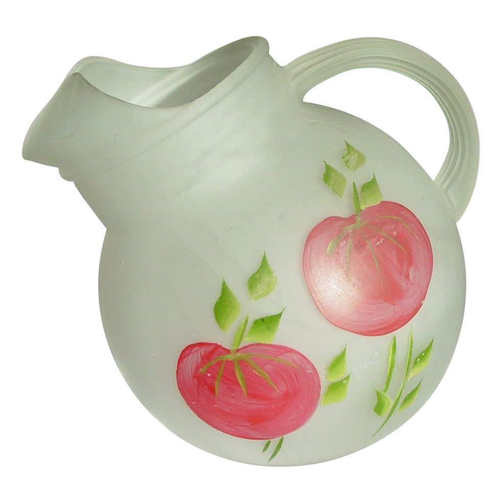 Anchor Hocking Tilt Ball Pitcher ~ Hand Painted Tomatoes ~ Frosted Glass