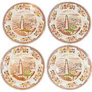 "Transfer-ware Plates ~ Brown & Richie, Ltd. ~ 6 3/8"" Bread Plates ~ Four"