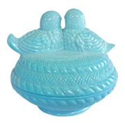 Blue Milk Glass ~ Love Birds Covered Candy ~ Basketweave