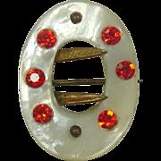 "Vintage Buckle Shaped Pin ~ M.O.P., Pink Rhinestones, Gold Metal ~ 1"" x 3/4"""
