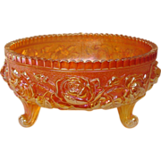 Imperial Carnival Glass ~ Lustre Rose Pattern ~ Footed Fernery ~ Marigold