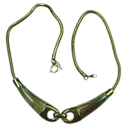 """Crown Trifari Necklace ~ Goldtone with Faux Horn ~ 13"""""""