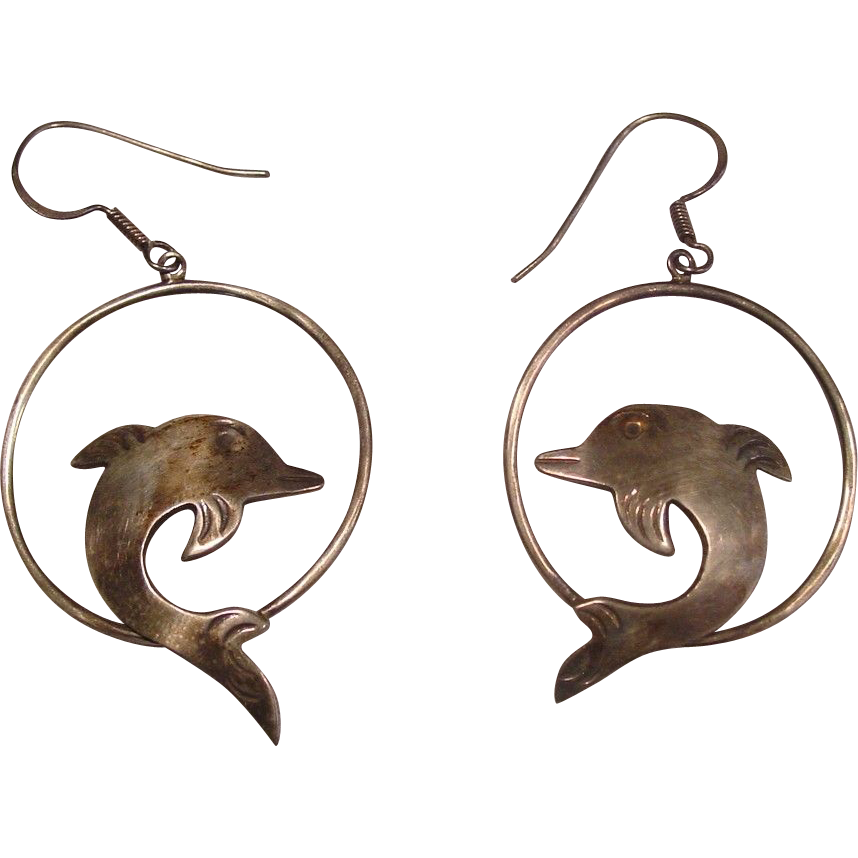 Taxco Mexico ~ Sterling Dolphin Earrings