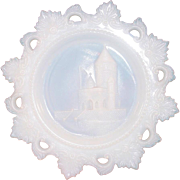 Westmoreland Glass ~ Opal Milk Glass Plate ~ Ancient Castle ~ 7 1/2""