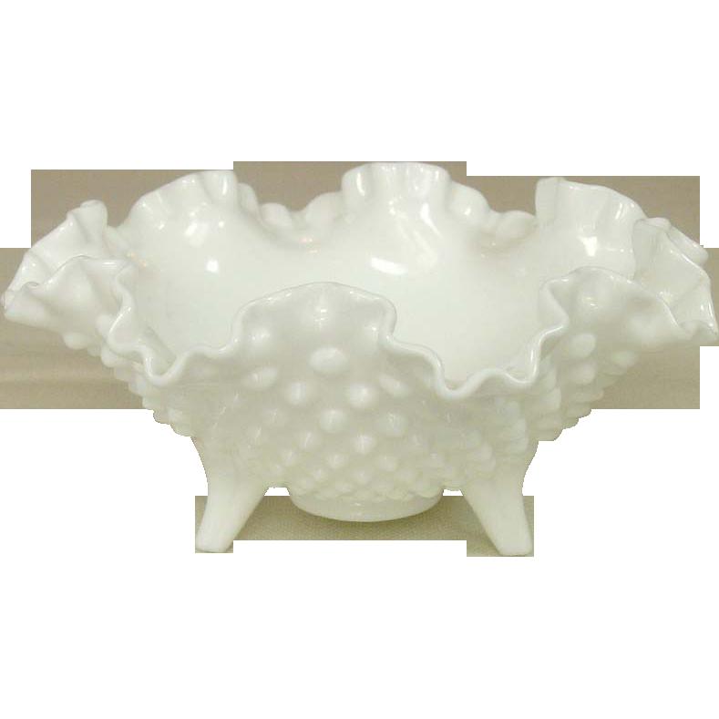 Fenton Glass ~ Hobnail Milk Glass ~ Three toed Bowl