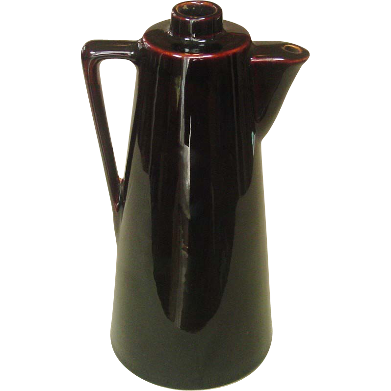 Early 20th Century Pottery Syrup Container ~ Brown Glaze ~ USA