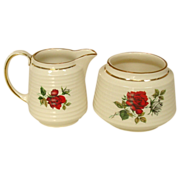 James Sadler and Sons, England ~ Open Sugar and Creamer ~ Red Rose