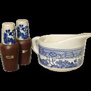 Blue Willow Pattern ~ Open Creamer and Salt & Pepper