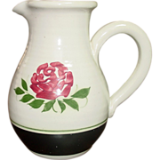 Vintage Hand-thrown and Painted Stoneware Pitcher, Rose & Leaves