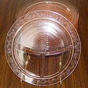 "MacBeth-Evans ~ Dogwood pattern ~ 10.5"" Grill Plates ~ Pink"