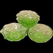 Hazel Atlas ~ Green Depression Glass ~ Fancy Pattern, Berry Bowls
