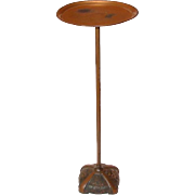 Vintage Metal Smoking or Card Stand, Cast Base, Floral Design