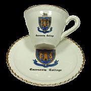 Cazenovia College, 4 Sets of Demitasse Cups & Saucers