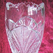 Bryce Higbee Palm Leaf Fan, Eapg Pedestal vase,  Pattern Glass