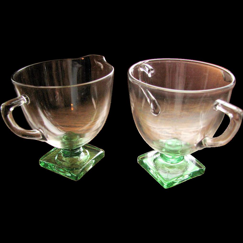 Depression Glass Fostoria 'Deco' 4020 pattern, creamer sugar set
