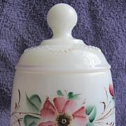 Heisey Victorian milk Glass 'Bead Swag' covered sugar