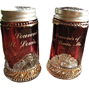 Ruby stained glass Lacy Medallion shaker set, Colorado, Jewel