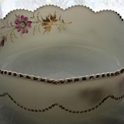 Heisey Eapg milk Glass, 'Bead Swag' bowl, handpainted
