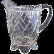 Eapg Greentown glass 'Cord Drapery' Indiana Tumbler & Goblet creamer, crystal