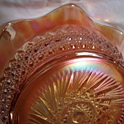 "Imperial Carnival glass ""Huckabee"", ""Flute and cane"" pattern bowl"