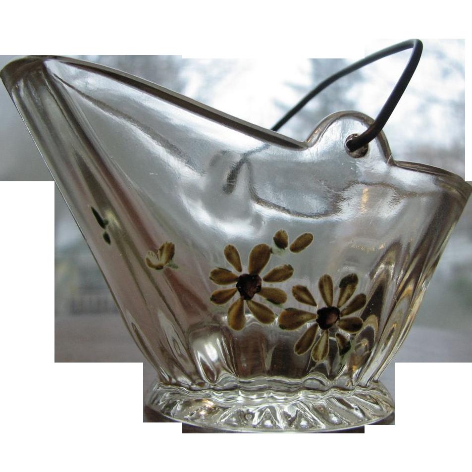 Victorian glass novelty coal bucket souvenir, hand-painted
