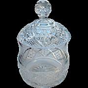 "Heisey Glass ""Cut Block"", #1200, Crystal clear covered sugar bowl"