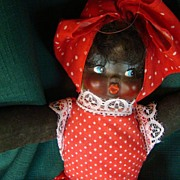 Black African American Negro Mammy Doll in red polka dot garment fabric body vintage doll