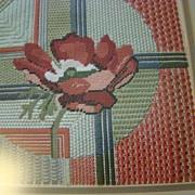 Embroidered Rose Art under Frame - Burnt Orange