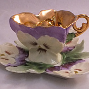 Antique Petite Figural Hand Painted PanseysCup & Saucer - Demi.