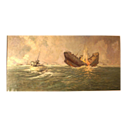 Reduced! Superb 1948 seascape WWII Naval Warfare painting, Atlantic convoy in attack, ship identified, by highly listed European Master