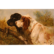 Superb 1900 portrait painting two hunting dogs by Henry Schouten ( 1857-1927). Great antique dog portrait painting.