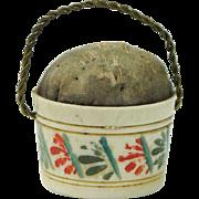 "Antique Georgian Pin Cushion Emery Bucket Pail Doll Size 1"" English Circa 1810"