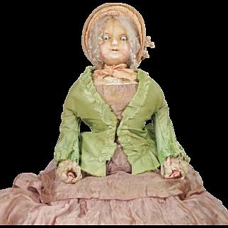 Antique English Wax Doll Slit Head All Original Clothing Circa 1830
