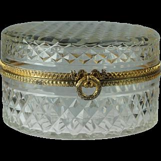 Antique French Cut Glass Jewelry Casket Circa 1910 Pretty