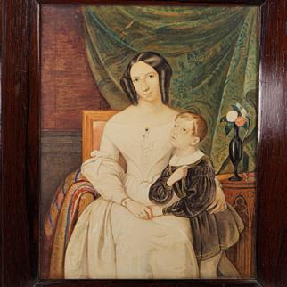 Exceptional 19th Century Watercolor Portrait European School Circa 1830s A Mother's Love