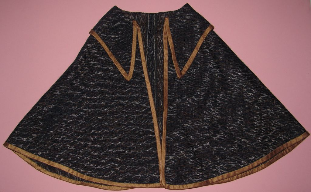Early Blue & Brown Doll Cape With Gold Trim - Handsewn