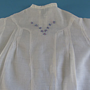 Vintage White Doll Dress With Blue/Pink Flowers