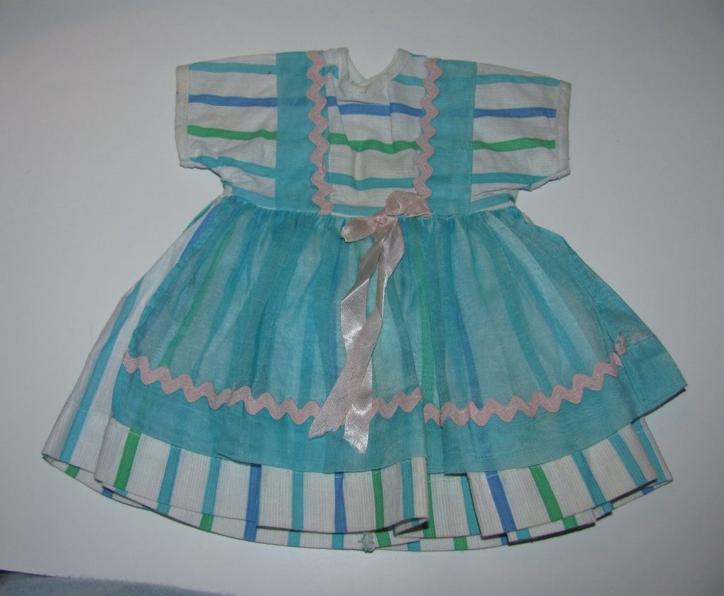1950's Factory Doll Dress - Stripes With Organdy Pinafore
