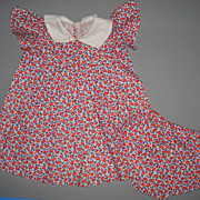 Red Floral Print Doll Dress & Panties - For Larger Doll