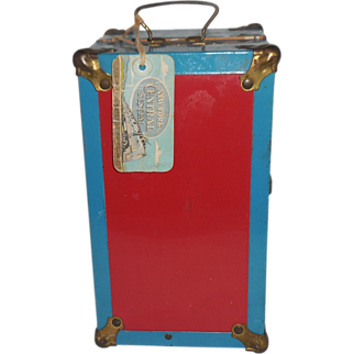 Vintage Metal Doll Trunk With Travel Tag