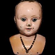 Antique Minerva Metal Doll Head With Glass Sleep Eyes