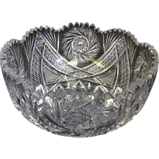 "SALE 9"" Pitkin & Brooks American Brilliant Cut Glass Bowl"