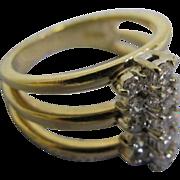 14 Karat Yellow Gold Lady's Fashion ring with 15 brilliant cut diamonds in size 7 13 Diamonds