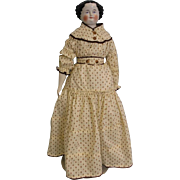 "Large Antique 24"" China Head Doll c.1870's Original Cloth Body and Corset"