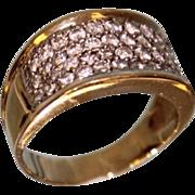 Lady's 18 Karat Yellow & White Gold Pave Fashion Diamond Ring 1.50 ctw Gorgeous