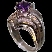1950's Lady's 14Karat White-Gold and Amethyst Diamond Ring Very Beautiful