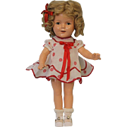 """13"""" Composition 1930's Shirley Temple doll Great orig wig dress undies + button"""